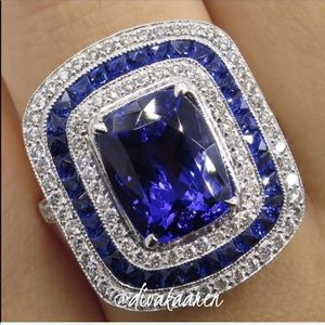 Art Deco Blue Sapphire, White Pave Topaz Ring